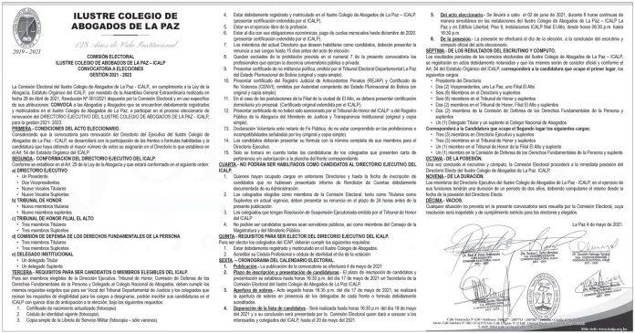 Ilustre Colegio de Abogados de La Paz - Convocatoria a Elecciones Gestión 2021 - 2023