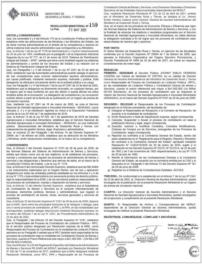 Ministerio de Desarrollo Rural y Tierras - Resolución Ministerial N° 159