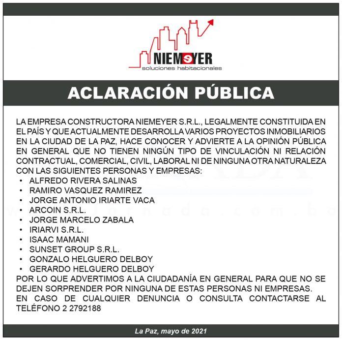 Niemeyer S.R.L. - Aclaración pública
