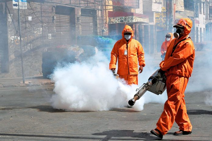 desinfección de calles Cochabamba