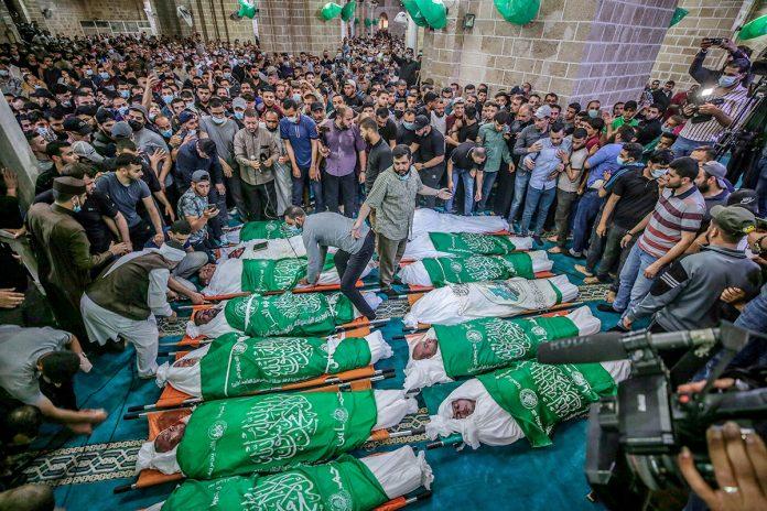 funeral de 15 palestinos
