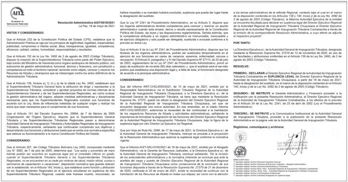 AIT - Resolución Administrativa AGIT/0018/2021