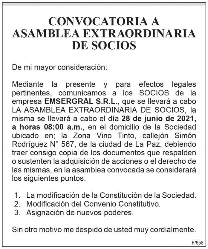 EMSERGRAL S.R.L. - Convocatoria a Asamblea Extraordinaria de Socios