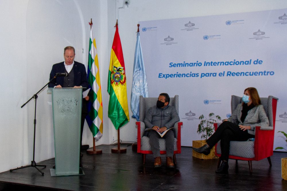 Michael Doczy Embajador de la Union Europea en Bolivia David Choquehuanca Vicepresidente el Estado Plurinacional Susana Sottoli Coordinadora Residente del Sistema de Naciones Unidas en Bolivia