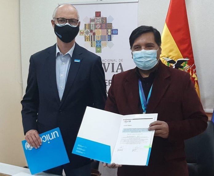 Ministerio de Educacion y UNICEF firmaron plan de trabajo en cinco areas para la gestion 2021