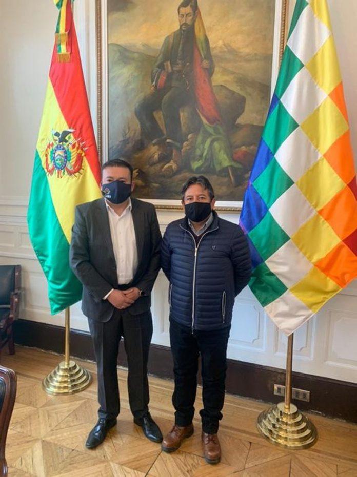 Presidente de CANEB Danilo Velasco y el Vicepresidente del Estado Plurinacional de Bolivia David Choquehuanca Cespedes