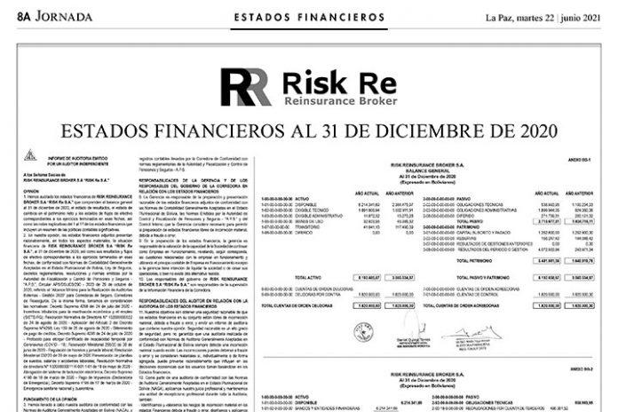 RISK Re S.A. - Estados Financieros al 31 de diciembre de 2020