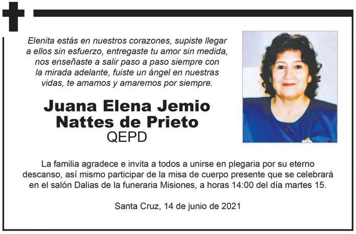 Fallecimiento - Juana Elena Jemio Nattes de Prieto