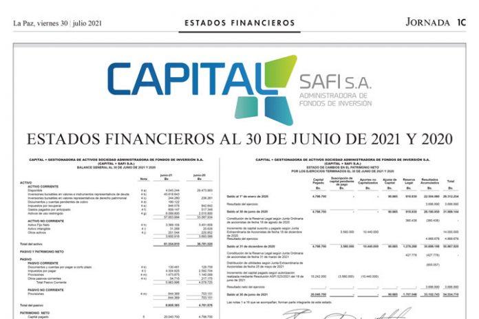 Capital + SAFI – Estados Financieros al 30 de junio de 2021 y 2020
