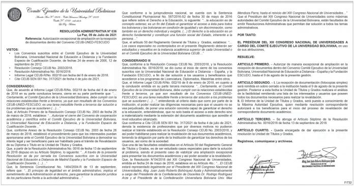 Comité Ejecutivo de la Universidad Boliviana - Resolución Administrativa Nº 036