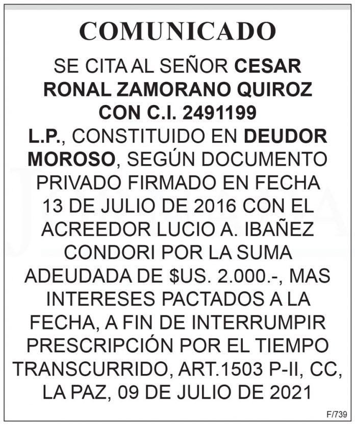 Comunicado - Se cita al señor Cesar Ronal Zamorano Quiroz