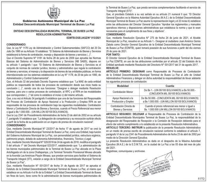 Entidad Descentralizada Municipal Terminal de Buses La Paz - Resolución Administrativa N° 013/2021