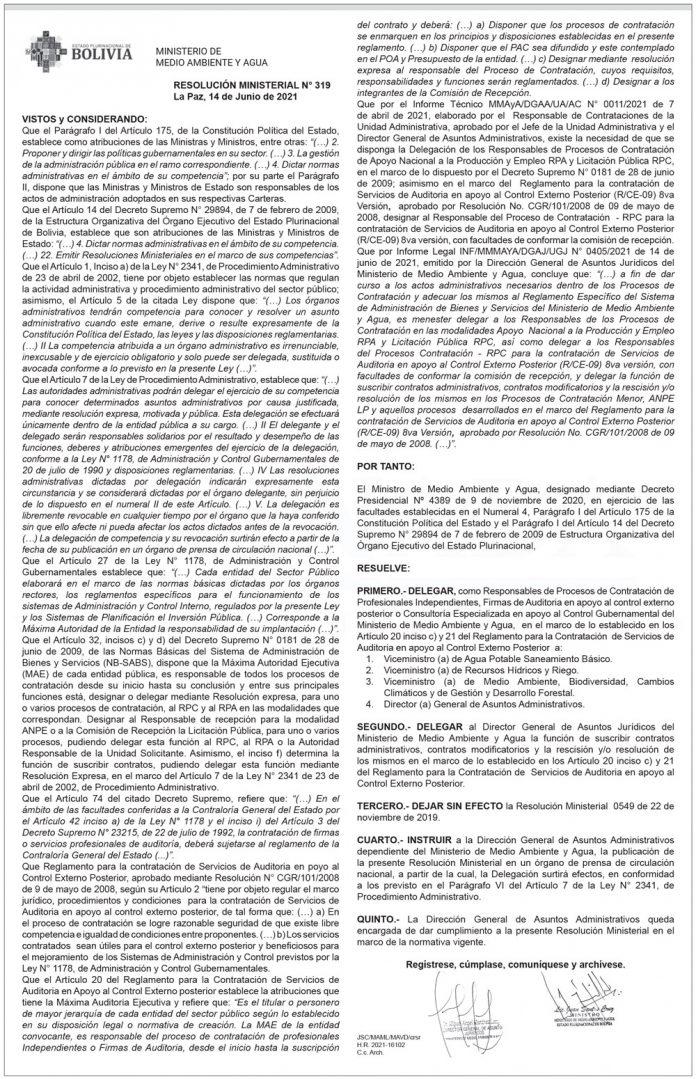 Ministerio de Medio Ambiente y Agua - Resolución Ministerial N° 319