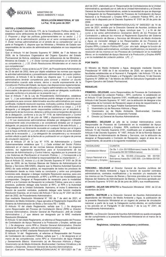 Ministerio de Medio Ambiente y Agua - Resolución Ministerial N° 320