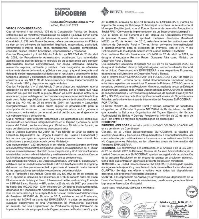 Programa EMPODERAR - Resolución Ministerial Nº 191