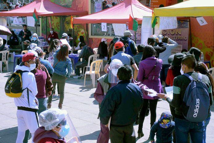 megavacunación en la ciudad de La Paz