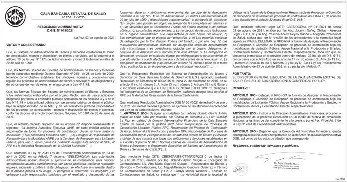 Caja Bancaria Estatal de Salud - Resolución Administrativa D.G.E. Nº 018/2021