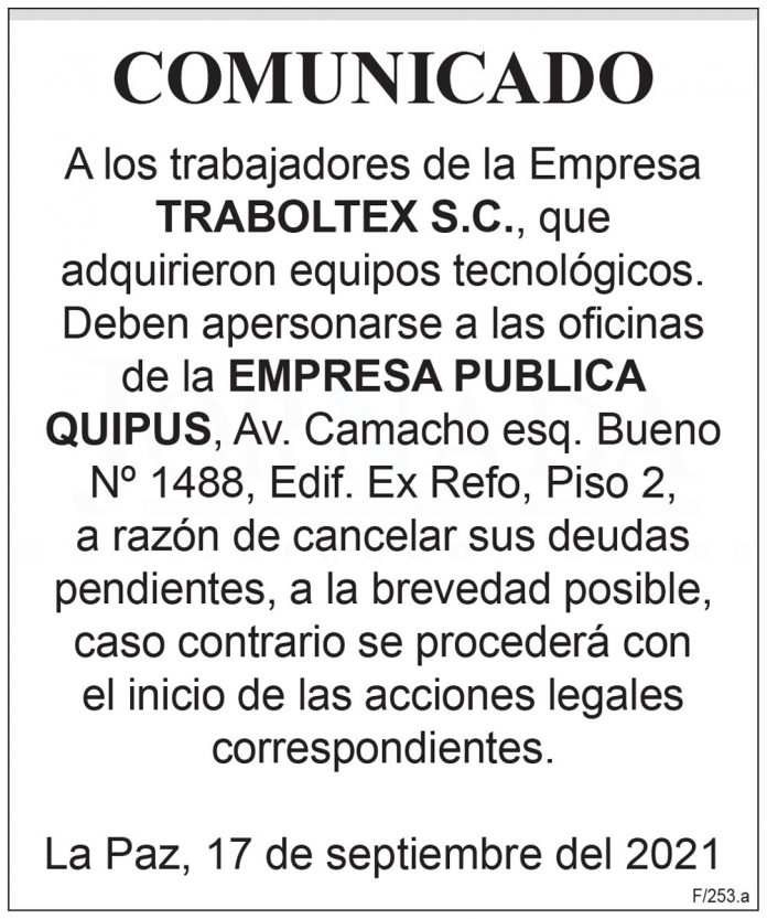 Comunicado - Traboltex S.C.