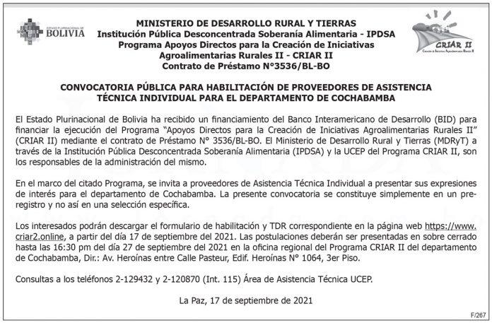 Convocatoria pública para el departamento de Cochabamba - Programa CRIAR II