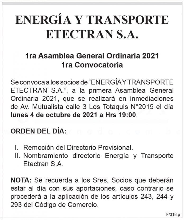 Energía y Transporte Etectran S.A. - 1ra Asamblea General Ordinaria 2021 - 1ra Convocatoria