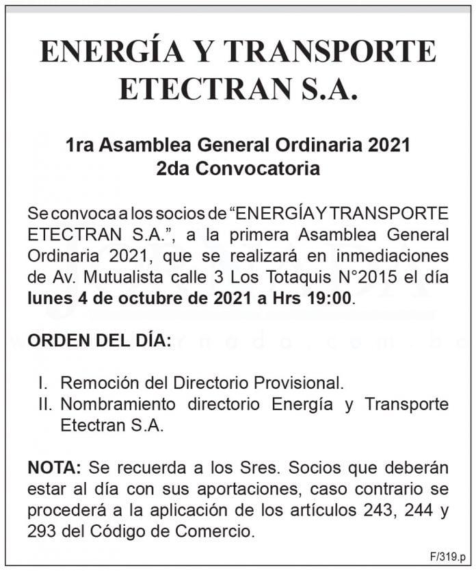 Energía y Transporte Etectran S.A. – 1ra Asamblea General Ordinaria 2021 – 2da Convocatoria