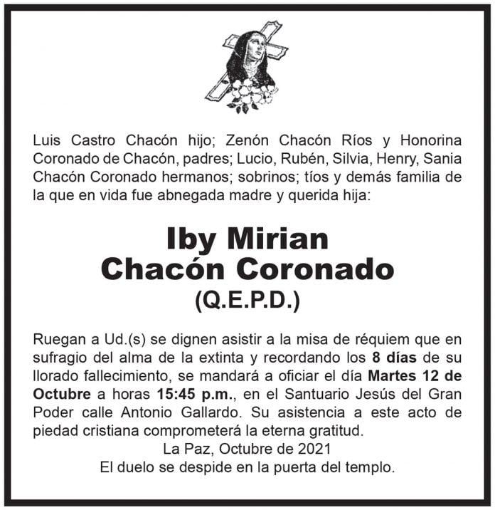 Misa de 8 días – Iby Mirian Chacón Coronado