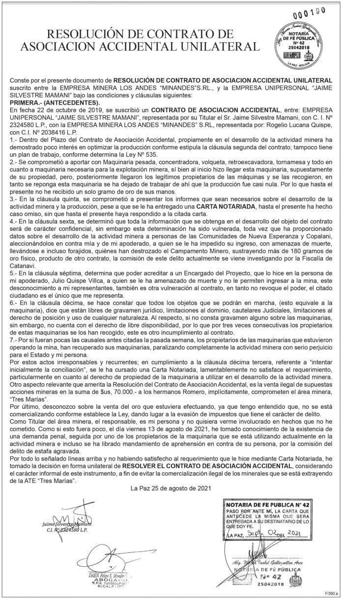 Resolución de Contrato de Asociación Accidental Unilateral